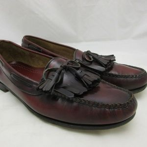 Cole Haan Burgundy Penny Loafers with Tassels